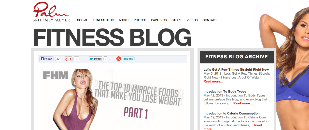 Brittney Palmer fitness blog
