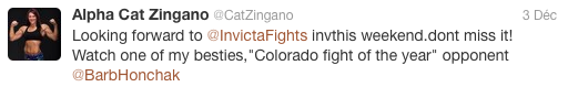 Tweet Cat Zingano to Barb Honchak